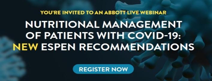 ESPEN impartirá un webinar sobre el tratamiento nutricional del paciente infectado con COVID-19 el lunes 6 de abril ¡Accede aquí!